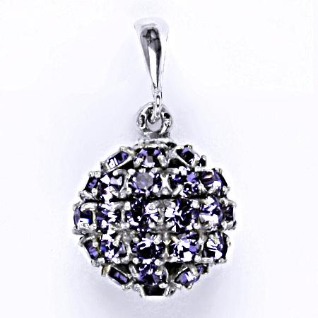 Stříbrný přívěšek koule se Swarovski krystalem tanzanite,šperk P 1369/6