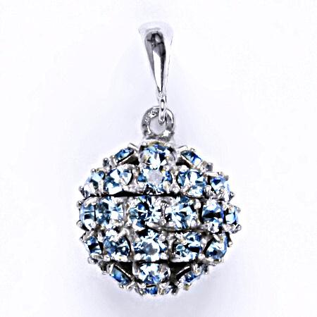 1 Stříbrný přívěšek koule se Swarovski krystalem akvamarín,šperk P 1369/6