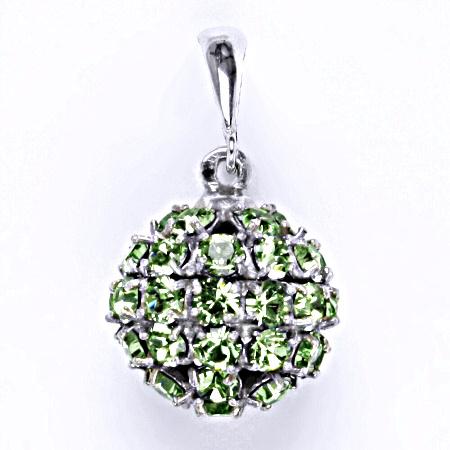 Stříbrný přívěšek koule se Swarovski krystalem peridot,šperk P 1369/6