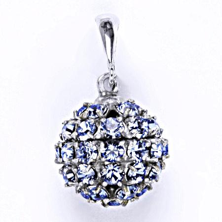 Stříbrný přívěšek koule se Swarovski krystalem light sapphire,šperk P 1369/6