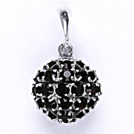 Stříbrný přívěšek koule se Swarovski krystalem granet,šperk P 1369/6