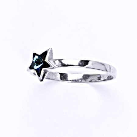 Prsten stříbrný s krystalem swarovski bermuda blue,šperk T 1326