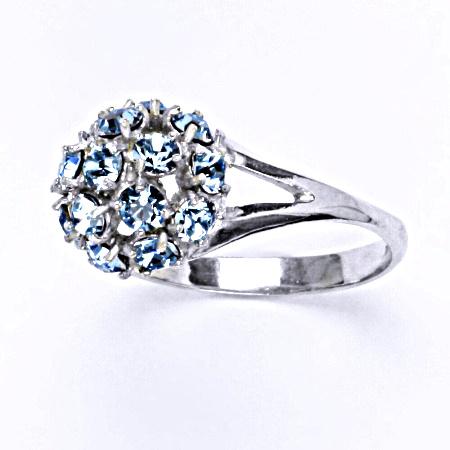 Prsten stříbrný s krystalem Swarovski akvamarín,šperk T 1337