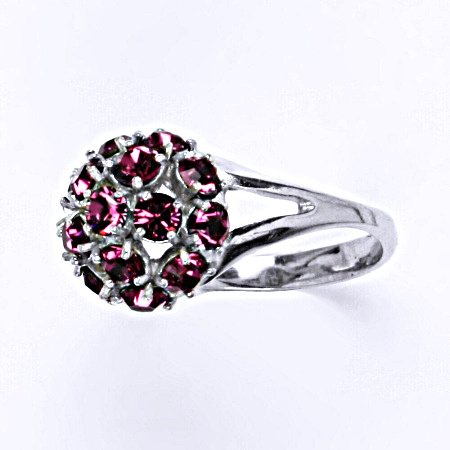 Prsten stříbrný s krystalem Swarovski fuchsie,šperk T 1337