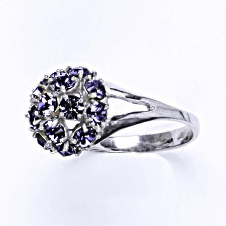 Stříbrný prsten s krystalem swarovski tanzanit,šperk T 1337