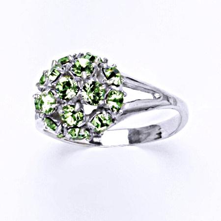 Prsten stříbrný s krystalem Swarovski peridot,šperk T 1337