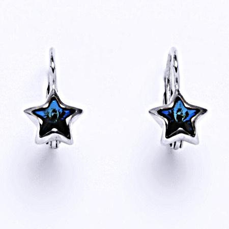 Stříbrné náušnice s krystalem swarovski bermuda blue,šperk NK 1366