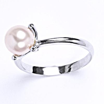Stříbrný prsten se Swarovski perlou rosaline, T 1400
