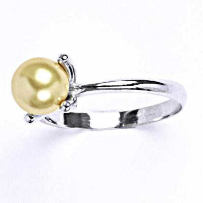 Stříbrný prsten se Swarovski perlou gold, T 1400