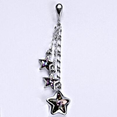 Stříbrný přívěšek s krystaly Swarovski vitrail light, hvězda P 1325/3/22
