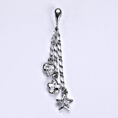 1 Stříbrný přívěšek s krystaly Swarovski, kytička,srdce,hvězda na řetízku