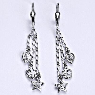 Náušnice stříbrné s krystaly Swarovski, kytička,srdce,hvězda na řetízku NK 1315-1297-1326/20 čiré
