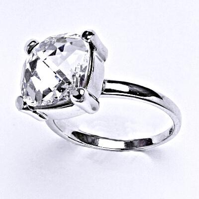Stříbrný prsten se Swarovski čirým krystalem 12 x 12 mm, T 1460