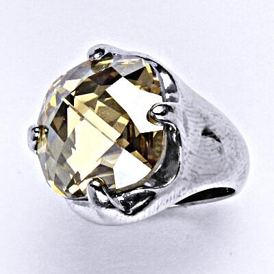Stříbrný prsten se Swarovski golden shaddow krystalem 16 x 16 mm, T 1459