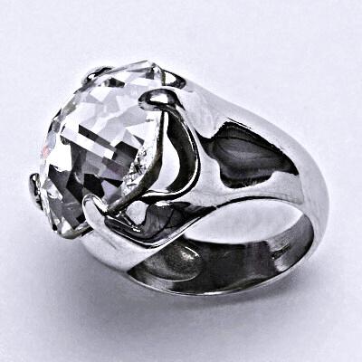 Stříbrný prsten se Swarovski čirým krystalem 16 x 16 mm, T 1459