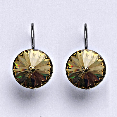 Stříbrné náušnice se Swarovski krystaly Rivoli light colorado topaz12 mm, NK 1468