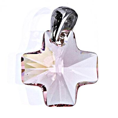 Stříbrný přívěsek se Swarovski krystalem rose, kříž 20 mm P 1302
