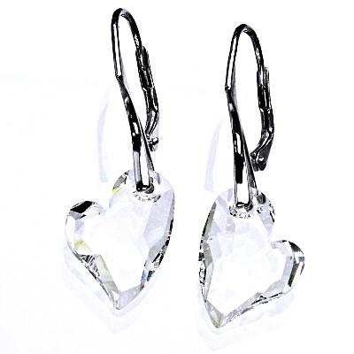 Stříbrné náušnice se Swarovski čirými krystaly, srdce 17 mm, NK 1295