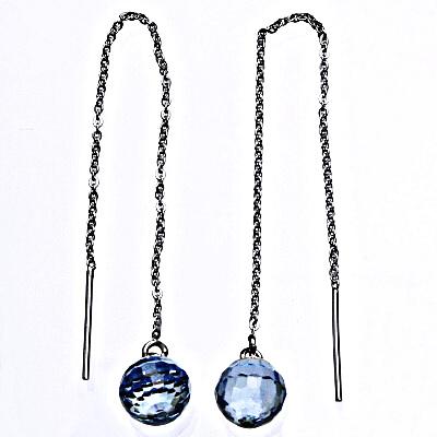 1 Stříbrné řetízkové protahovací náušnice se Swarovski krystalem akvamarin, NŘ 1311