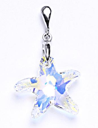 Stříbrný přívěšek s krystalem Swarovski hvězda AB krystal,šperk,přívěšek ze stříbra, P 1313/22