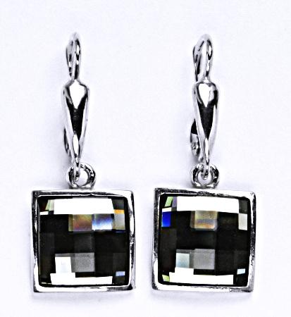 Náušnice stříbrné s krystalem Swarovski black diamond. šperk NK 1305/20