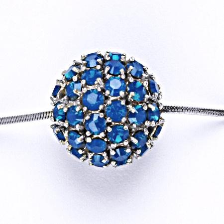 Koule se Swarovski krystalem celostříbrná 16.5 mm blue opal přívěsek stříbrný P 1338