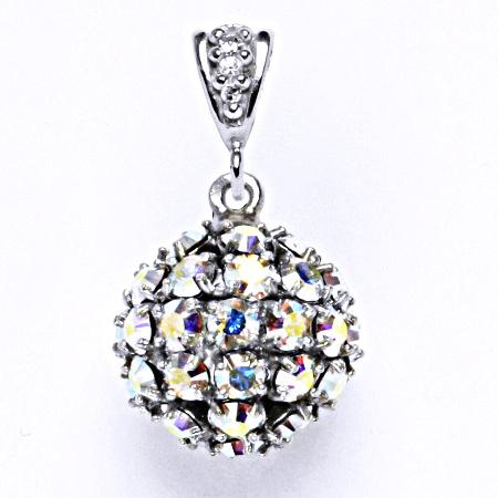 Koule se Swarovski krystalem AB crystal přívěsek stříbrný P 1369/2