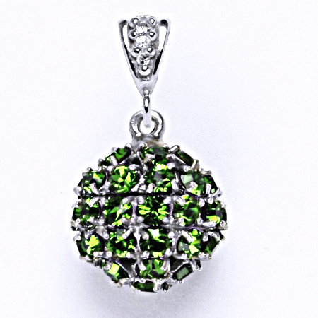 Koule se Swarovski krystalem fern green přívěsek stříbrný P 1369/2