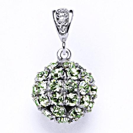 Koule se Swarovski krystalem chryzolit přívěšek stříbrný P 1369/2