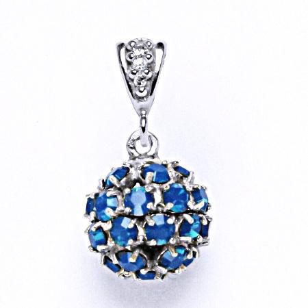 Koule se Swarovski krystalem blue opal přívěsek stříbrný P 1344/2