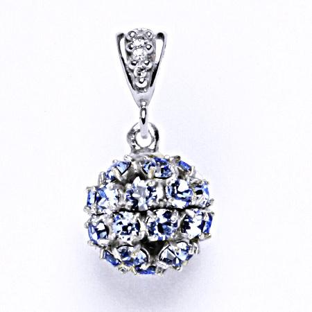 Koule se Swarovski krystalem light sapphire přívěsek stříbrný P 1344/2