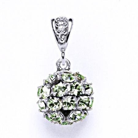 Koule se Swarovski krystalem chryzolit přívěsek stříbrný P 1344/2
