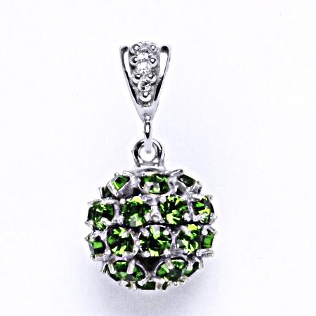 Koule se Swarovski krystalem fern green přívěsek stříbrný P 1344/2
