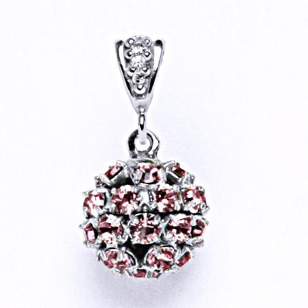 Koule se Swarovski krystalem přívěsek stříbrný light rose P 1344/2