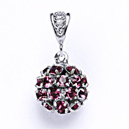 Koule se Swarovski krystalem přívěsek stříbrný fuchsia P 1344/2