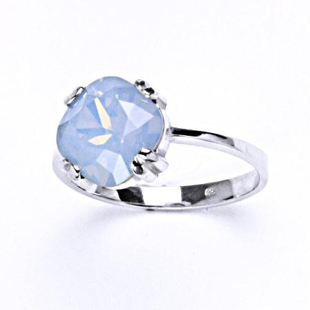 Stříbrný prsten s krystalem Swarovski Air blue opal, T 1225