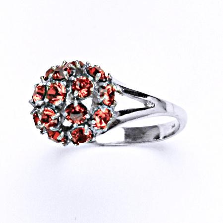 Stříbrný prsten s krystalem swarovski paparadscha,šperk T 1337