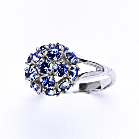 Stříbrný prsten s krystalem swarovski sapphire, T 1337