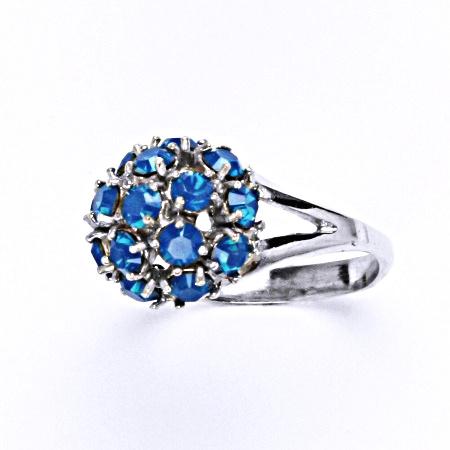 Stříbrný prsten s krystalem swarovski blue opal, T 1337
