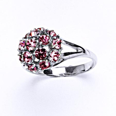 Stříbrný prsten s krystalem swarovski rose, T 1337