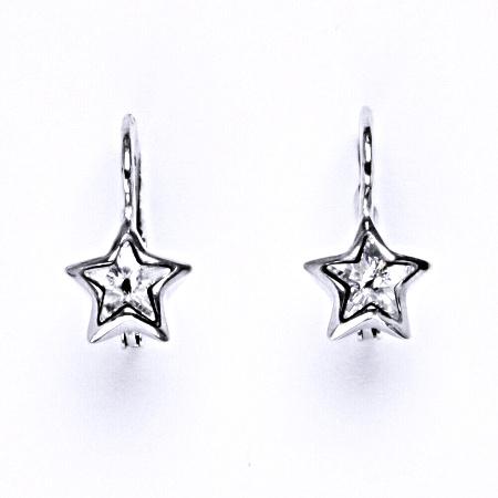 Stříbrné náušnice s čirým krystalem swarovski, NK 1366
