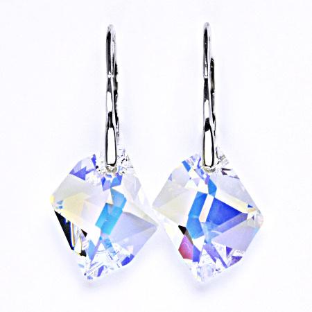 Stříbrné náušnice s krystalem Swarovski AB crystal, NK 1295