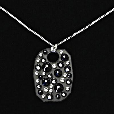 Stříbrný náhrdelník, swarovski krystaly, přívěsek se swarovski krystalem