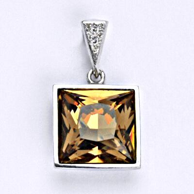 Stříbrný přívěšek se Svarovski krystalem light smoked topaz, P 1394