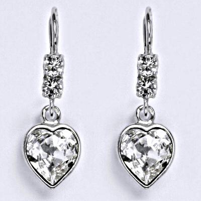 Stříbrné náušnice se Swarovski krystalem čiré, srdce, NK 1346/1396