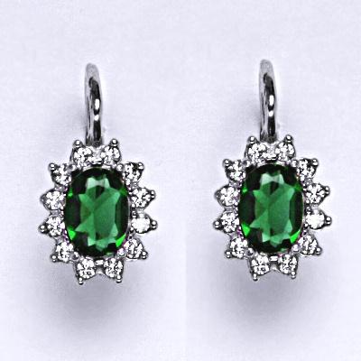 Stříbrné náušnice Kate, umělý smaragd, čiré zirkony, náušnice ze stříbra, NK 1480