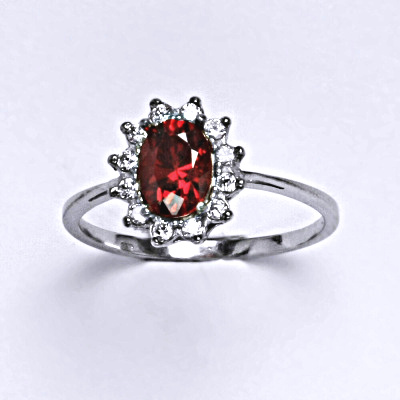 Stříbrný prsten Kate, oranžový zirkon a čiré zirkony, prstýnek ze stříbra, T 1480
