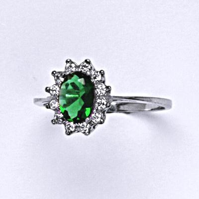 Stříbrný prsten Kate, umělý smaragd, čiré zirkony, prstýnek ze stříbra, T 1480