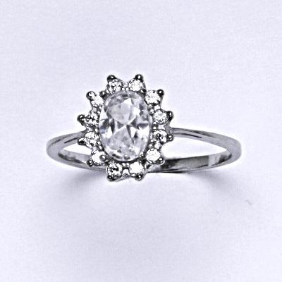 Stříbrný prsten Kate, čiré zirkony, prstýnek ze stříbra, stříbro, T 1480