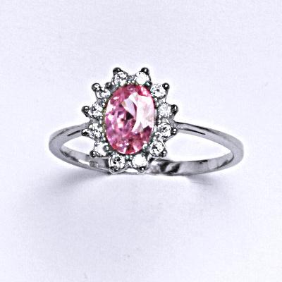 Stříbrný prsten Kate, růžový zirkon, čiré zirkony, prstýnek ze stříbra, T 1480